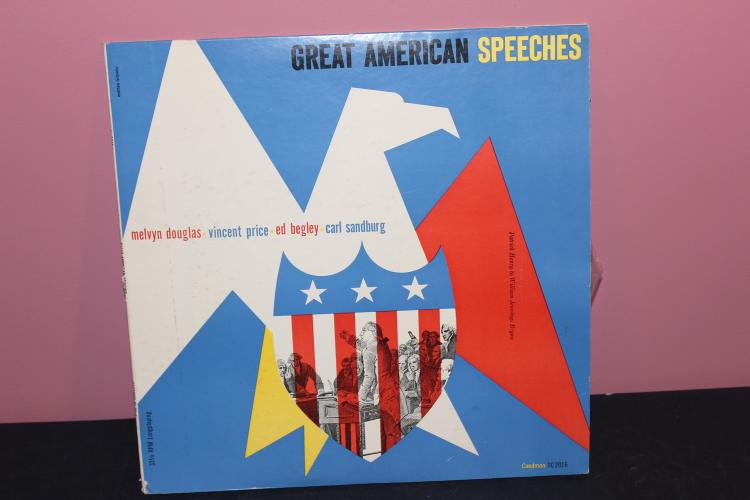 GREAT AMERICAN SPEECHES 1958 - CAEDMON DOUBLE L.P. SET GATEFOLD W/ 29 PAGE BOOKLET - LIKE NEW