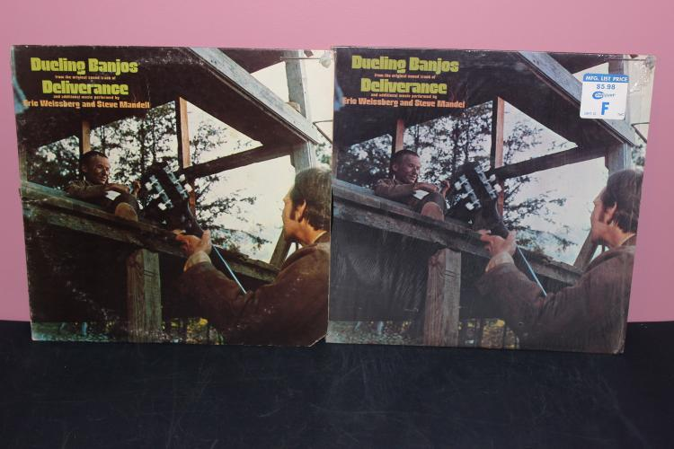 2 RECORD LOT DELIVERENCE DUELING BANJOS - 1 IN ORIG STORE WRAPPER - WARNER BROS 2683 1973 - GOOD COND