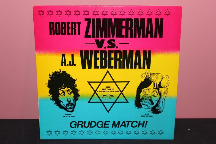 RARE DYLAN UNUSUAL RECORDING – ROBERT ZIMMERMAN A.K.A DYLAN US. AJ WEBERMAN – THE GRUDGE MATCH FOLKWAYS RECORDS NEAR MINT