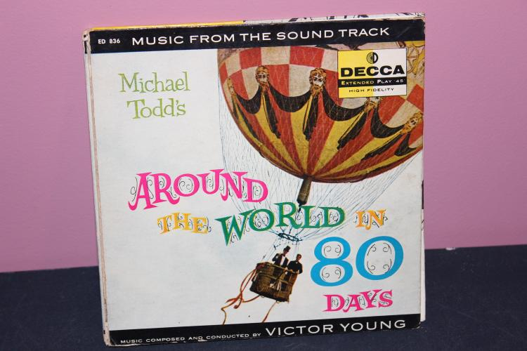 AROUND THE WORLD IN 80 DAYS 45 EXTENDED PLAY 836 DECCA ORIG. VERY GOOD COND. 3RECORD SET