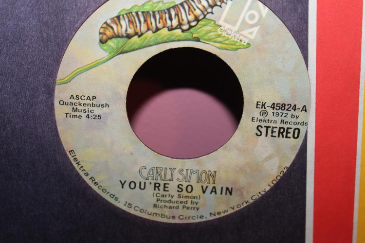 YOUR SO VEIN 1972 CARLY SIMON GOOD COND. ELEKTRA 45824A GOOD COND.