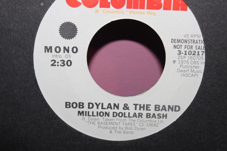 DEMONTRATION ONLY NOT FOR SALE 1975 DYLAN & THE BAND DWARF MUSIC – COLUMBIA 3-10217- BASEMENT TAPES MILLION DOLLAR BASH VERY GOOD COND.