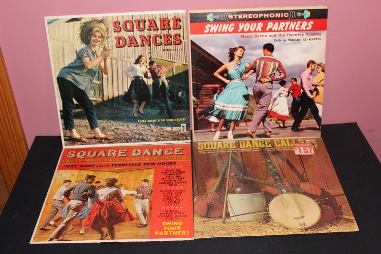 4- SQUARE DANCE ALBUMS ALL GOOD PLAYABLE ALL DIFFERENT ARTIST