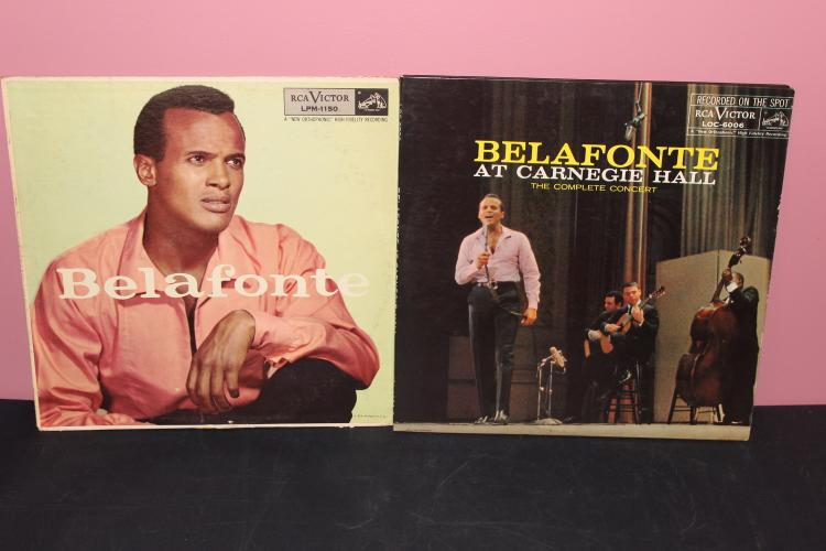 2 RECORD LOT BELAFONTE AT CARNEGIE HALL 1959 DOUBLE ALBUM – RECORDED LIVE R.C.A. BELEFONTE 1956 R.C.A. WELL USED BUT GOOD CONDITION