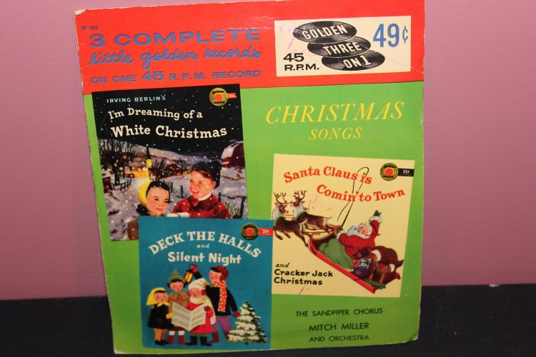 45 RPM GOLDEN RECORDS 6 CHRISTMAS SONGS ORIG. PRICE 49 CENTS GOLDEN 3 ON 1 45 EXTENDED PLAY – VERY GOOD COND.