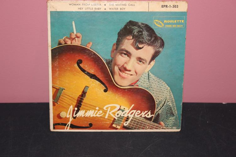 JIMMY RODGERS CARDBOARD SLEEVE 1958 ROULETTE RECORDS SOME SCRATCHES BUT VERY PLAYABLE