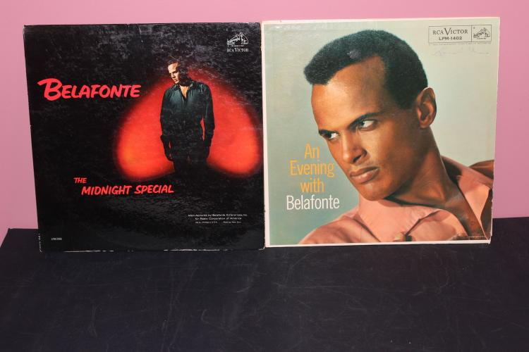 2 RECORD LOT BELEFONTE RCA 1 DATED 1957 1 NO DATE NEAR MINT