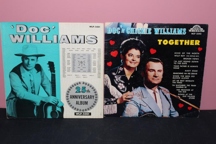 2 DOC WILLIAMS ALBUMS - 1 WITH HIS WIFE - WHEELING RECORDS - LIKE NEW