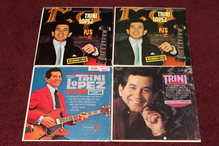 4 TRINI LOPEZ REPRISE RECORDS - 2 LIKE NEW - 2 MINOR BLEMISHES