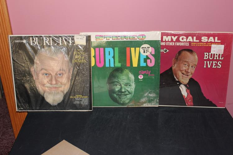 3 RECORD L.P. LOT - BURL IVES ALL IN ORIG STORE WRAPPERS - 2 DECCA - 1 CAMAY - EXC. COND