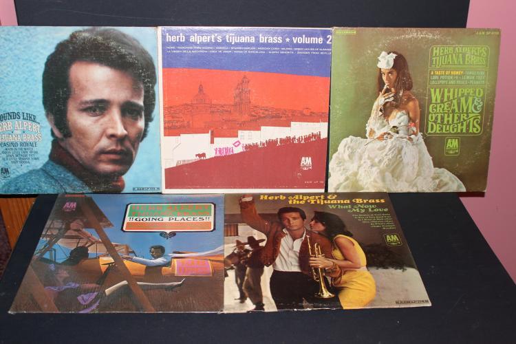 5 RECORD L.P. LOT - HERB ALPERT'S TIJUANA BRASS - ALL LIKE NEW - A.M. RECORDS
