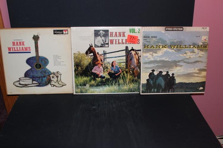 3 ALBUM LOT IN MEMORY OF HANK WILLIAMS BY RUSTY DRAPER, EDDIE DEAN, SLIM BOYD - LIKE NEW