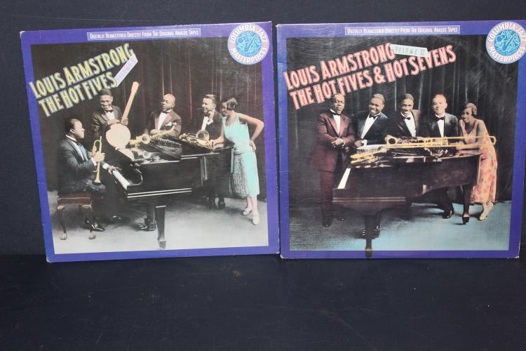 2 ALBUM LOT - REISSUE 1988 CBS RECORDS LOUIS ARMSTRONG - THE HAT - FIVES VOL. #1 & #2 - ARMSTRONG HOT 5 & HOT 7 - NEAR MINT