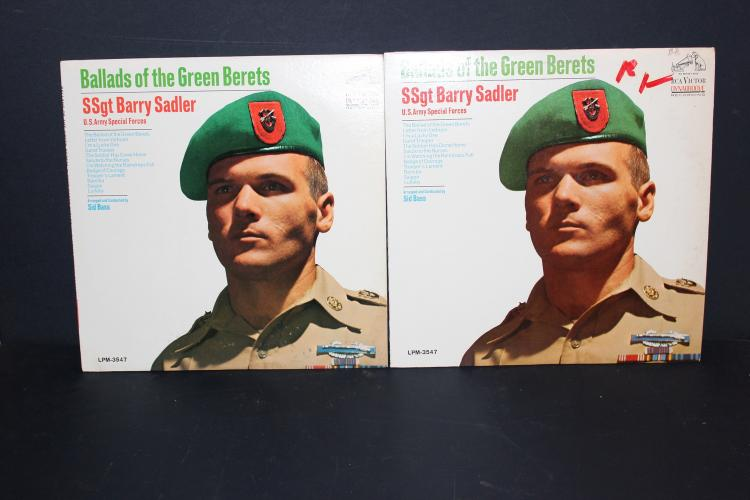 2 ALBUM LOT SSGT BARRY SADLER BALLADS OF THE GREEN BERETS - RCA RECORDS 3547 - 1966 LIKE NEW