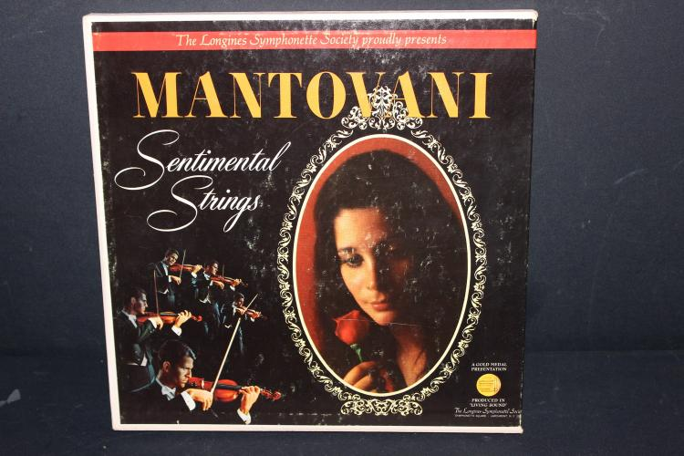 LONGINES SYMPHONETTE SOCIETY PRESENTS MANTOVANI SENTIMENTAL STRINGS - 7 L.P. RECORD SET - LIKE NEW