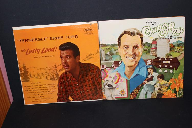 2 TENNESSEE ERNIE FORD ALBUMS -1 GATEFOLD 1979 NATIONAL GEOGRAPHIC SOCIETY NEAR MINT LUSTY LAND CAPITAL T 700 LIKE NEW