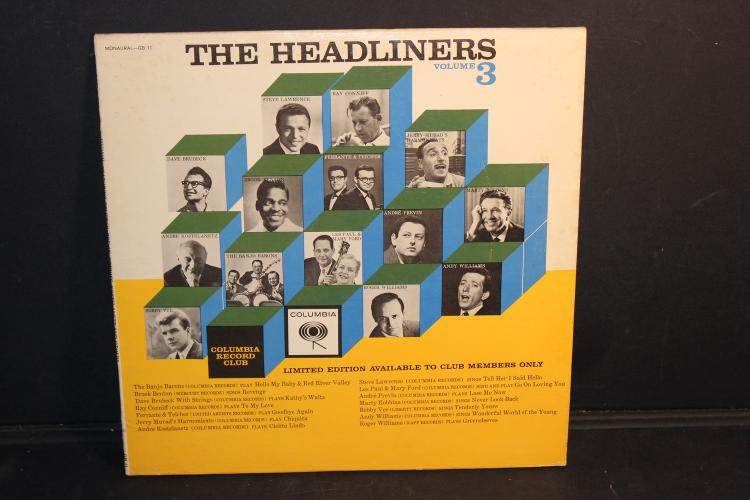 THE HEADLINERS VOLUME #3 AVAILABLE TO CLUB MEMBERS ONLY COLUMBIA GB 11 LIKE NEW
