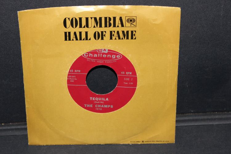TEQUILA - THE CHAMPS - 45 RPM - CHALLENGE RECORDS - FEW MINOR BLEMISHES - PLAYS WELL