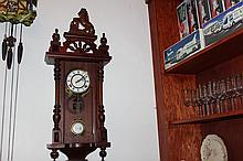 ORNATE WALL HANGING 31 DAY MAHOGANY CASED CLOCK IN MINT WORKING CONDITION 34