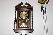 MAHOGANY CASED WALL HANGING 31 DAY CLOCK WORKING BY AUTOMATIC