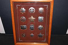 GREAT 1987 SET OF 12 STERLING SILVER BADGES AND WOOD AND GLASS CASE 7.475 TROY OUNCES