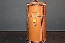SOLID LEATHER CUP CASE WITH 6 SILVERPLATED CUPS MADE IN GERMANY AND MINT - CUTS 2.75 TALL - CASE 4.75 TALL