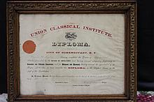 EARLY DIPLOMA FROM UNION CLASSICAL INSTITUTE 1883 BEFORE IT WAS CALLED UNION COLLEGE 20 X 18 GREAT FRAME
