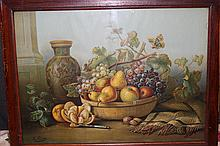 EXCELLENT VICTORIAN PERIOD STILL LIFE PRINT SIGNED A. LAUX NICE OAK FRAME 39 X 26