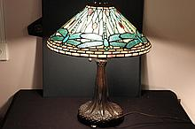 HIGH QUALITY COPY OF TIFFANY DRAGONFLY HANDMADE & BEAUTIFUL - ORNATE METAL BASE 27 TALL -  BASE 10
