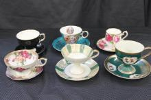 6 LOVELY FIND CHINA CUPS AND SAUCERS - ROYAL ALBERT, ROYAL HALSEY, COLOLOUGH, STAFFORD, PLUS - MINT