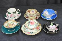 6 FINE BONE CHINA CUPS AND SAUCERS - ROYAL SEALY, TRIMDNT, MERIT CHINA, 2 UNMARKED - MINT