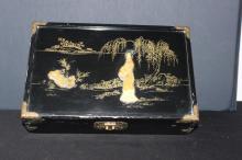 ORIENTAL JEWELRY BOX WOOD AND BRASS - MINOR WEAR