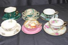 6 BONE CHINA CUPS AND SAUCERS - 1 CREAM SOUP - 5 COFFEE OR TEA