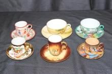 6 FIND CHINA ORIENTAL CUPS AND SAUCERS HAND-PAINTED