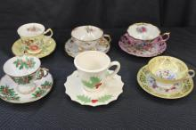6 FINE CUPS AND SAUCERS INCLUDING 2 XMAS, PARAGON, NAPCO, FANCREST, ROYAL SEALY