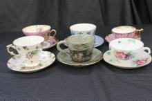 6 LOVELY CHINA CUPS AND SAUCERS SEVERAL MAKERS ALL MINT