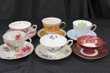 6 BEAUTIFUL FINE CHINA CUPS AND SAUCERS - WINDSOR, AUSTRIA, JUNE BIRTHDAY