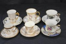 6 MID SIZE CHINA CUPS AND SAUCERS - LIMOGES, COLCOUGH, GOLD CASTLE