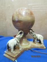 GREAT DECO ELEPHANT TABLE LAMP - TOP OF SHADE LIFTS OFF - I BELIEVE THE LAMP IS ALABASTER - EXCELLENT CONDITION