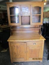 GREAT VINTAGE SOLID OAK KITCHEN CABINET WITH MAPLE SERVICE - CABINET STAND 67