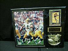 BRETT FAVRE AUTOGRAPHED PHOTO WITH CARD ON PLAQUE