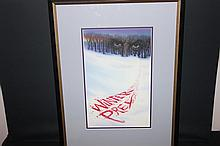 WINTER PREY GREAT WATERCOLOR BY WELL-KNOWN ARTIST RON WALOTSKY - ALSO DONE WORK FOR STEPHEN KING PLUS OTHERS - ARTWORK 15 X 9 - OVERALL 23 X 17