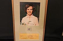 AUTOGRAPHED PHOTO & CANCELED CHECK BELONGING TO ROSALYNN CARTER DATED 1960 W/ AUTHENTICITY - THE FIRST LADY