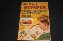THE THREE IN ONE BUMPER STORY PAINTING AND CUT OUT BOOK - MADE IN ENGLAND - SHOWS USAGE WHERE THE PAGES ARE ALL GOOD - SUPER CHILD'S BOOK UNUSED