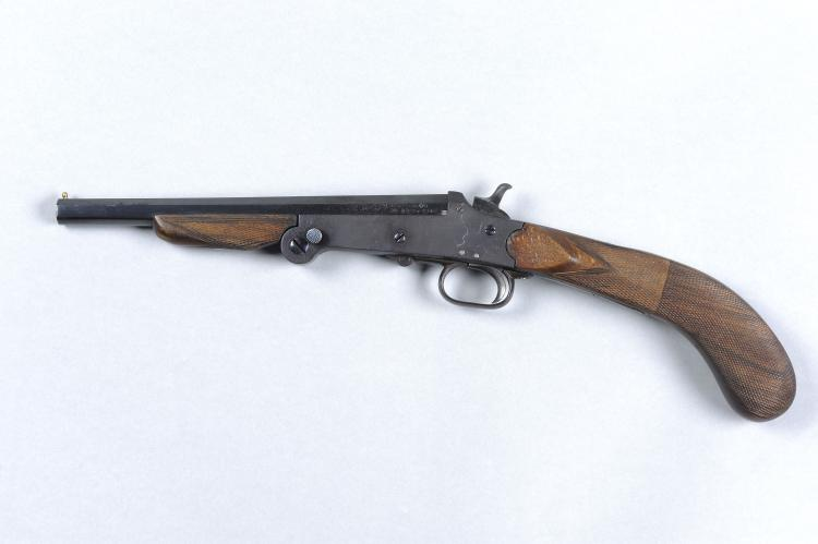 A BELGIAN .410 SINGLE SHOT PISTOL, NO. 6341 8 3/4-inch barrel with 2 1/2-in