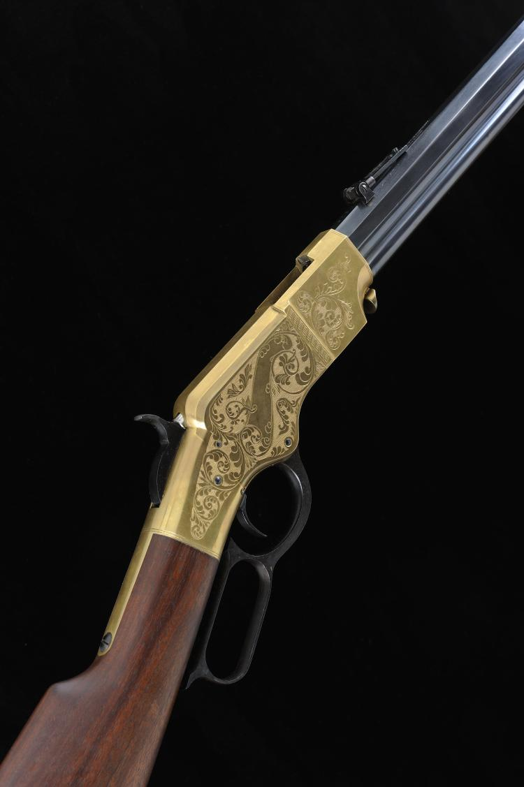 NAVY ARMS CO. A REPRODUCTION .44-40 HENRY'S PATENT LEVER ACTION RIFLE, NO.