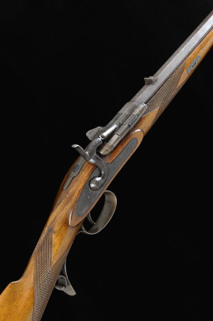 A .380 SNIDER'S PATENT HAMMER RIFLE, NO. 21 27 1/2-inch damascus octagonal