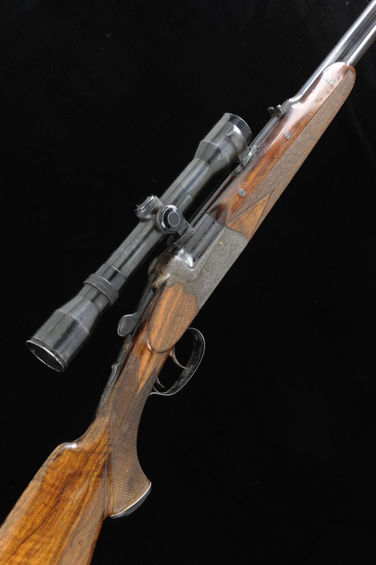 JOSEF HAMBRUSCH A .22/7X57MM BOXLOCK NON-EJECTOR OVER AND UNDER RIFLE, NO.