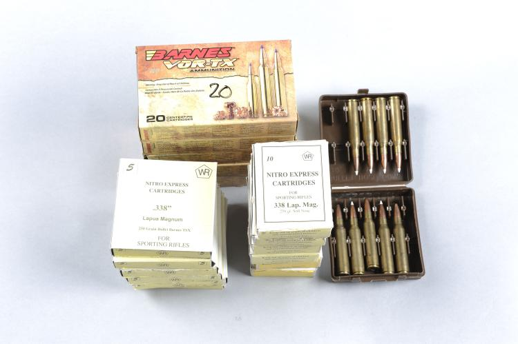 BARNES 96 RNDS .338 WIN MAG AMMUNITION 225 grain, tipped TSX bullet; togeth