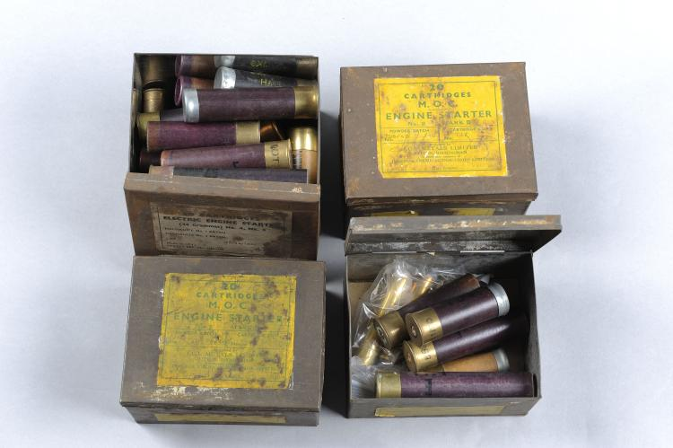 ICI A SMALL QUANTITY OF ENGINE STARTER CARTRIDGES of various types, in thei